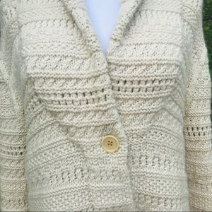 TSESAY Cashmere Wool Cable Knit Sweater Cream